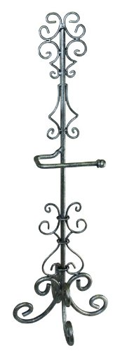 Standing Scroll Toilet Tissue Holder | Pewter Silver Bathroom Paper (Tissue Antique Toilet Holder Pewter)