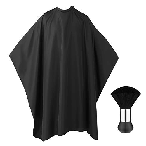 Frcolor Professional Barber Cape with Snap Closure, Hair Cutting Salon Cape Hairdressing Apron Black, Neck Duster Brush Included - 55'' x 63''