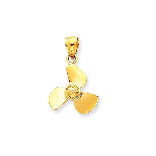 14K Yellow Gold Propeller Charm Pendant