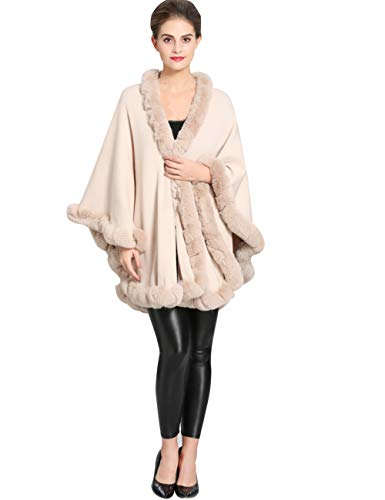 Aphratti Knit Wrap Scarf Shawl Cape with Luxury Rex Rabbit Faux Fur Collar Without Arm Slits One Size Full Beige