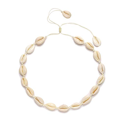 (TIKCOOL Pearls Shell Choker Necklace for Women Seashell Anklets Bracelets Set Cord Hemp Cowrie Shell Necklace Summer Beach Jewelry (Shell Necklace #2))
