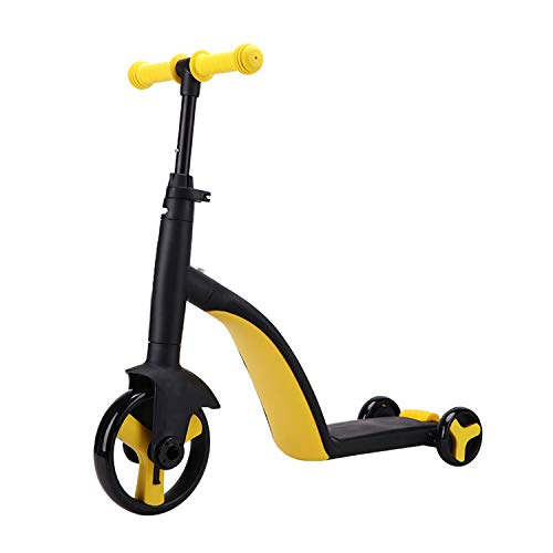 Piarrow 3-in-1 Convertible Tricycle, Balance Bike, Kick Scooter for Kids and Toddler at Age of 2, 3, 4, 5 Year Old | Trike Turns Into 3 Wheel Scooter for Boys & Girls - Yellow
