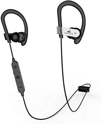 Meidong HE8C Active Noise Cancelling Bluetooth Earbuds in Ear Earphones Sports Headphones with Hard Travel Case/Deep Bass/15 Hours Playtime/apt-X Csr Built in Microphone【Upgrade】 (Reducing Earphones Noise)