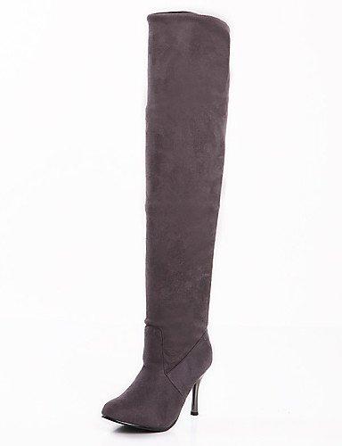 XZZ  Damenschuhe - Stiefel Stiefel Stiefel - Kleid - Kunst-Veloursleder - Stöckelabsatz - Slouch Stiefel   Rundeschuh - Schwarz   Braun   Grau B01L1GS1QQ Sport- & Outdoorschuhe Ausgewählte Materialien 66ed62