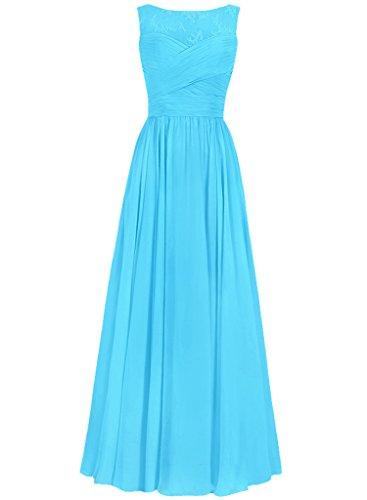 JAEDEN Mujeres redondo Vestidos fiesta largo sin mangas Gasa Vestidos de noche Vestidos de dama de honor Azul