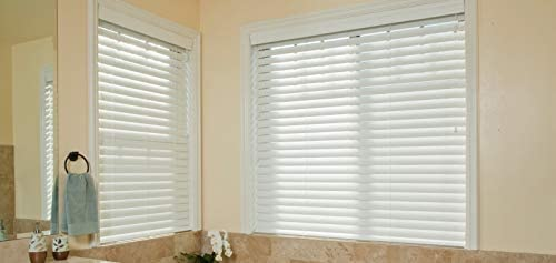 Premium White 2 Inch Faux Wood Blind 22 W x 48 L Actual Size 21 1 2 x 48