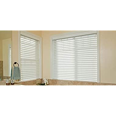 Premium White 2  Inch Faux Wood Blind 67  W x 48 L (Actual Size 66 1/2 x 48)