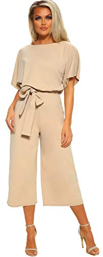 Longwu Women's Elegant High Waist Short Sleeve Jumpsuit Casual Wide Leg Pants Loose Rompers with Belt Apricot-L