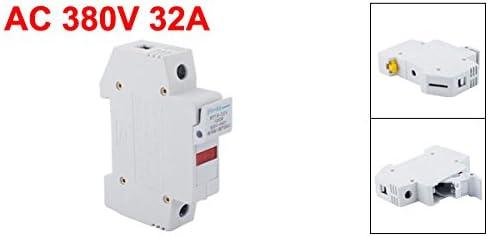 sourcing map RT18-32X AC 380V 32A 1 p/ôle 10x38mm DIN Rail accessoire fusible porteur Base