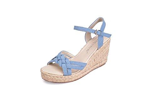 Balamasa Donna Open Toe Fibbia Sandali Con Tacco Alto Azzurro Chiaro