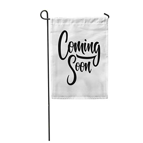 Tarolo Decoration Flag Announce Coming Soon Lettering Sign Brush Announcement Arrival Black Drawn Flat Thick Fabric Double Sided Home Garden Flag 12