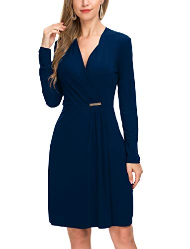 Le Vonfort Women's Long Sleeve Vintage V Neck Pleated Casual Cocktail Wrap Dress Sapphire Large