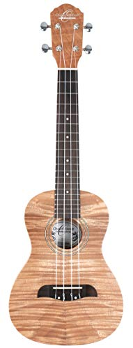 Oscar Schmidt OU2F Concert Ukulele, Flame Mah top/back/sides w/ TMS Polishing Cloth