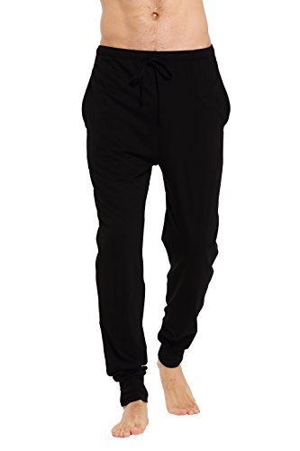 CYZ Men's Cotton Knit Lounge Pants with Drawstring-Black-M
