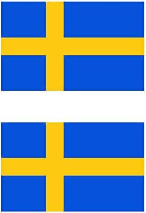 Two Pack Swedish Flag Sticker FA Graphix Decal Self Adhesive Vinyl Sweden SWE SE