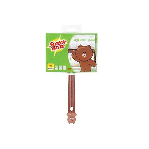 LINE FRIENDS 3M Scotch-Brite Sticky Lint Roller Set(Handle 1 + Refill Roller 2) (L(Cleaner Width 160mm), Brown)