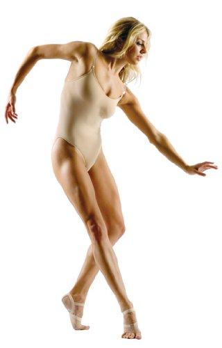 Capezio Women's Camisole Leotard With Clear Transition Straps, Suntan, X-Small (Body Tights Capezio)