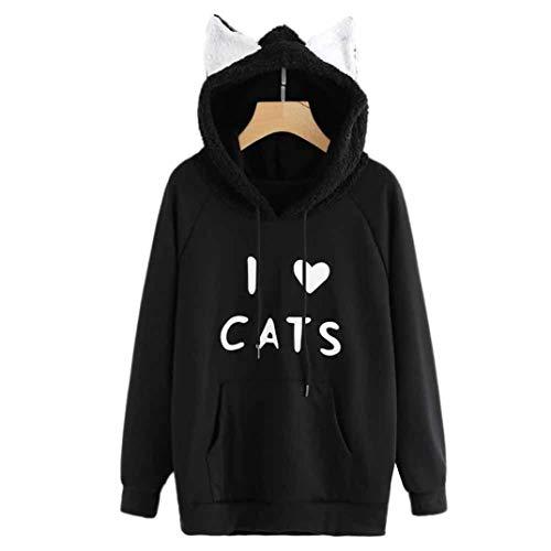 URIBAKE Womens Blouse Long Sleeve Sweatshirt Contrast Faux Shearling Cat Ear Hoodie ()