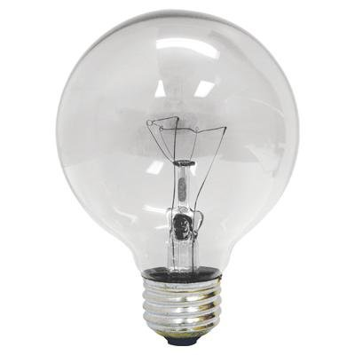 GE 64509 60 Watt, G25 Decorative Globe Light Bulb, Crystal Clear, Pack of - 60 Globe Watt Bulbs