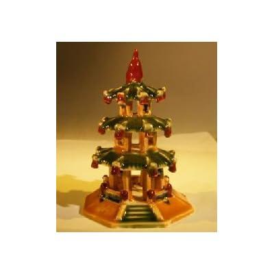 Bonsai Boy's Glazed Ceramic Pagoda Figurine: Garden & Outdoor