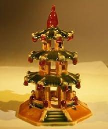 Bonsai Boy\'s Glazed Ceramic Pagoda Figurine