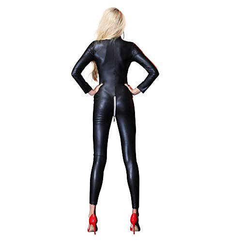 Yzwen Women's PVC Leather Wet Look High Fork Opening Triangle Jumpsuit Nightclub Faux Leather Zipper Tight Long Legs One-Piece Trousers Hot Pants Stage Nightclub Clothing,Black,M]()