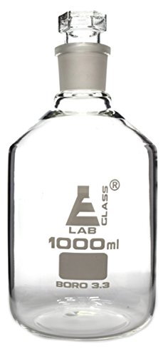 Reagent Bottle, Borosilicate Glass, Narrow Mouth with Interchangeable Hexagonal Hollow Glass Stopper - 1000ml - Eisco Labs