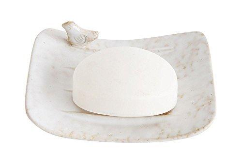 iqued Ivory 5.5 x 4.5 Stoneware Decorative Soap Dish (Stoneware Bird)