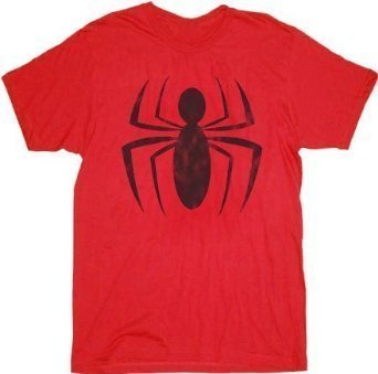 Spider-Man Distressed Ink Red Spider Logo Adult T-shirt Tee (Adult Small)