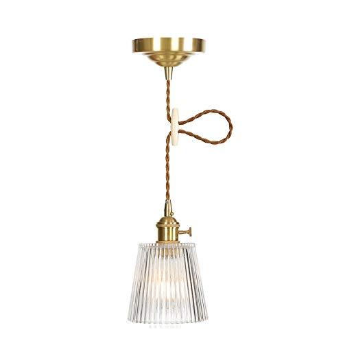 Suspensions Mini Pendant Holder - Ganeep Vintage Stripes Glass Switch Pendant Lights Loft Style Copper Holder Pendant Lamp for Bar Restaurant Room Hanglamp Suspension Luminaire E27 Edison