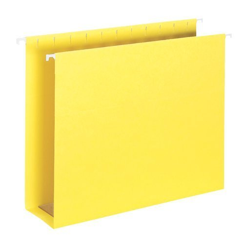 Smead Hanging Box Bottom File Folder with Tab, 2 Expansion, 1/5-Cut Adjustable Tab, Letter Size, Yellow, 25 per Box (64269) by Smead