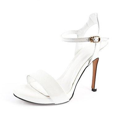 LvYuan Mujer-Tacón Stiletto-Gladiador-Sandalias-Oficina y Trabajo Vestido Fiesta y Noche-Piel de Oveja-Negro Blanco Black