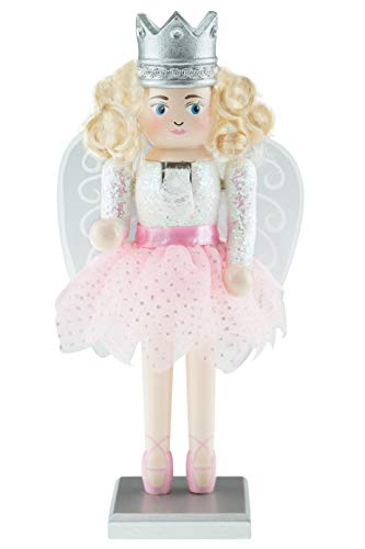 Clever Creations Sugar Plum Fairy Nutcracker | Festive Christmas Decoration | Traditional Fairy Nutcracker with Pink Tutu and Ballerina Shoes | Stands at 10