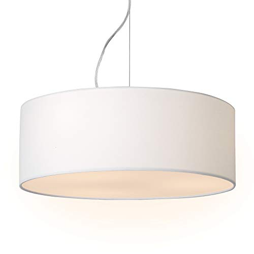 Fixture Diffusers Light - 18inches 3-Light Modern Drum Chandelier Round Frosted Acrylic Diffuser, Semi-Flush Mount Stem-Hung with Adjustable Height, Chrome Finish
