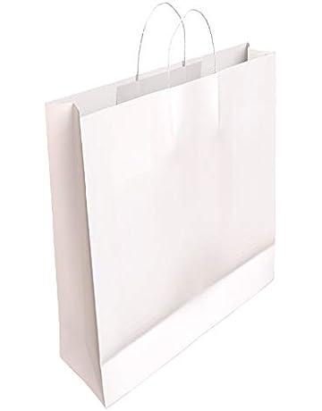 767ff839a 50 x Bolsa de Papel Kraft Blanca con Asas Rizadas 32 x 24 x 10 CM