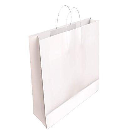 50 x Bolsa de Papel Kraft Blanca con Asas Rizadas 32 x 24 x 10 CM