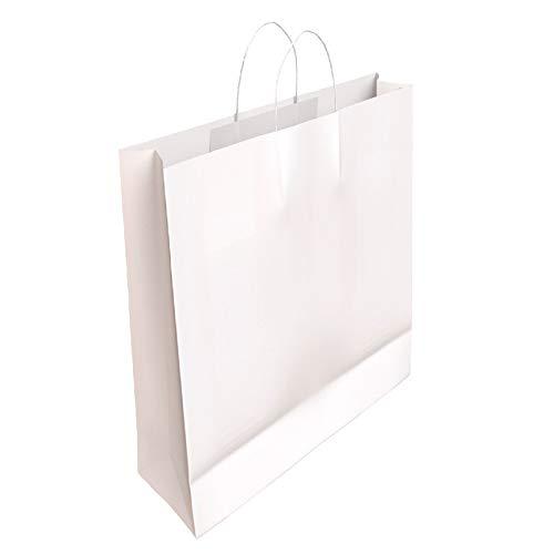 [CA4030] 50 x Bolsa de Papel Blanco con Asas Rizadas (37 x 27 x 12 cm)