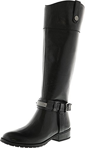 INC International Concepts Fabbaa Wide Calf Leather Knee High Boot Black wf36dABd