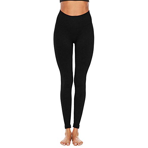 Women's Fitness Sport Capris Solid Line High Waist Workout Ruche Booty Thights Yoga Athletic Leggings (XL, Black) by FDSD Women Pants (Image #1)