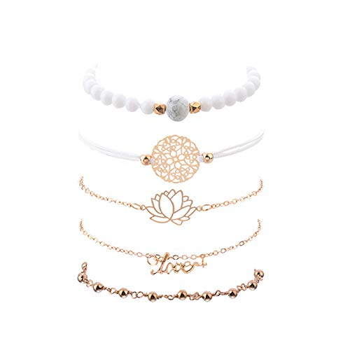 5 Piece Bracelet-White Lotus Design, White Bead String and Cyan Bead Gold Bracelet for Women