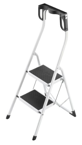 (Hailo 4342-001 Safety Plus 2 Ladder Step Stool, White and Black)
