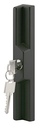 Prime-Line C 1041 Keyed Sliding Door Outside Pull, Diecast Construction, Black, 3-15/16 in. & 4-15/16 in., Pack of 1 (Sliding Outside Door Handle)