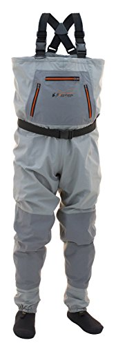 Frogg Toggs Hellbender Breathable Stockingfoot Chest Wader, Stout, Slate Gray, Size Medium Stout