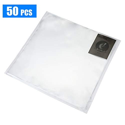 Skyreat 50x Vinyl Record Outer Sleeves,Album LP Crystal Clear Durable & Wrinkle-Free & Made from Virgin Polypropylene Vinyl Covers for 12 Vinyl Record (12 Inch,50x Pack)