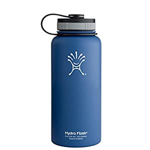Hydro Flask Insulated Stainless Steel Water Bottle, Wide Mouth, 18-Ounce, Everest Blue