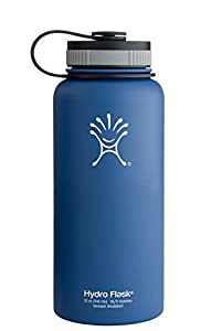 Hydro Flask Insulated Wide Mouth Stainless Steel Water Bottle, Everest Blue, 32-Ounce