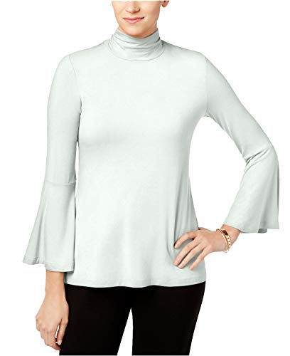 (Alfani Women's Mock-Neck Bell-Sleeve Top (Soft White, X-Large))