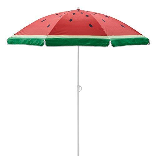 (Beach Umbrella, 6.5ft Sand Anchor with Telescoping Rust Free Pole, Portable UV 50+ Protection Beach Umbrella with Carry Bag (6.5ft, Watermelon))