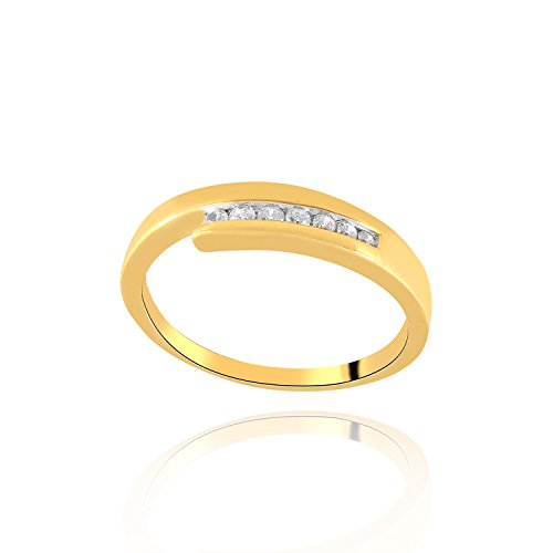 Giantti 14KT Diamond Women's Yellow Gold Daily Wear Ring - IGL Certified ( 0.096 Ct, SI Clarity, GH-Colour) by Giantti