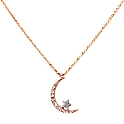 0.13ct Round Diamonds in 14K Gold Crescent Moon & Star Charm Necklace (20, white-gold) (Gold Diamond Moon Charm)